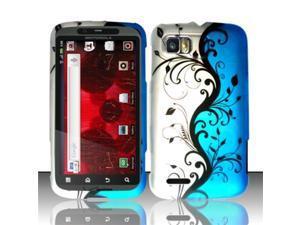 BJ For Motorola Atrix 2 MB865 (AT&T) Rubberized Design Case Cover - Blue Vines