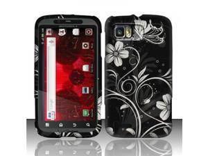 BJ For Motorola Atrix 2 MB865 (AT&T) Rubberized Design Case Cover - White Flowers