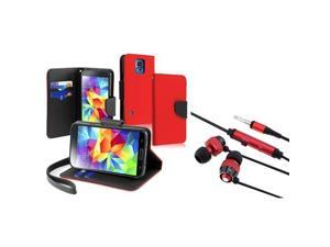 eForCity Red / Black Leather Case with Card Slot + FREE Red / Black In-ear (w / on-off) & Mic Stereo Headsets Compatible ...