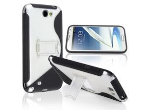 eForCity Black/Clear S Shape TPU Rubber Skin Case with Stand + Black Car Charger (Micro USB) + Black USB Data/Charging Cable ...