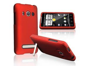 eForCity Compatible With HTC EVO 4G Red Rubberied Hard Case + Car Charger + LCD Screen Shield Protector