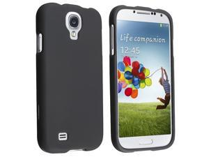 eForCity Black Rubberized Hard Case + Clear Screen Protector + 2 Charger + USB Cable Compatible with Samsung© Galaxy S4 i9500
