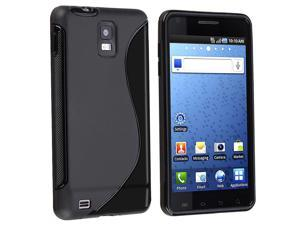 TPU Rubber Skin Case compatible with Samsung Infuse SGH-i997 4G, Black S Shape