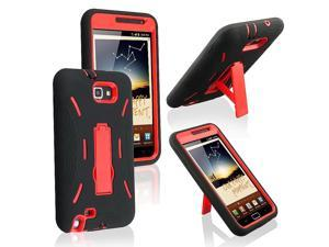 eForCity Black Skin/Red Hard Hybrid Case with Stand + Black Car Charger (Micro USB) + Black USB Data/Charging Cable (Micro ...