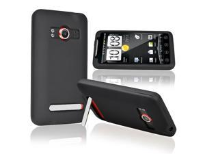 eForCity Black Silicone Skin Case + Car + Wall Home Charger + USB Data Charging Cable Compatible With HTC EVO 4G