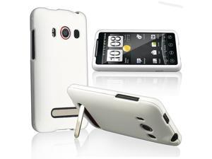 eForCity White Rubberized Defender Case Cover + Car + Wall Charger Compatible With HTC EVO 4G