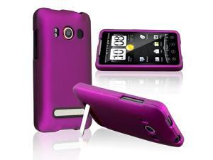 eForCity Car Charger + Purple Rubber Hard Case + Film Compatible With HTC EVO 4G