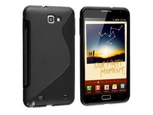 eForCity Black S Shape TPU Rubber Skin Case With Home Travel Charger Compatible With Samsung© Galaxy Note N7000