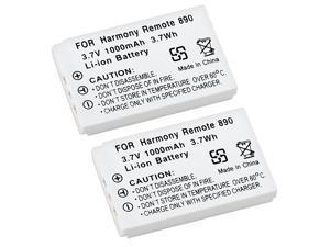 eForCity 2-Pack White 3.7v Li-ion Battery For Logitech Harmony Remote 890 885 880 720