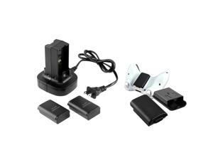 eForCity 2 x Black Controller Battery Shell Pack Cover + Charge Station For Xbox 360
