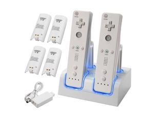 2 Remote Controller+4x Backup Battery Charger For Wii