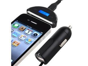 eForCity 3.5mm FM Transmitter with Car Charger compatible with Samsung© Galaxy S4 / SIV / i9500 Black