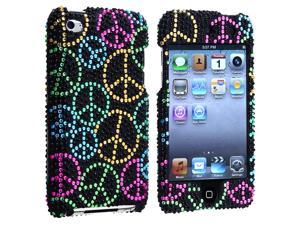 Snap-on Case compatible with Apple® iPod touch 4th Gen, Black Rainbow Peace Sign Bling