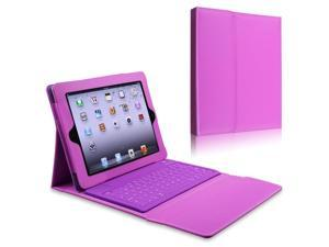 eForCity Leather Case Stand with Bluetooth Keyboard Compatible with Apple iPad 2/ipad 4 / ipad with Retina display, Purple