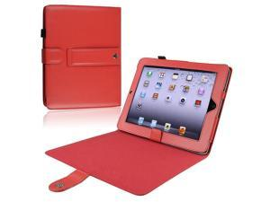 eForCity Leather Case w/ Kick Stand Compatible With Apple iPad, Red