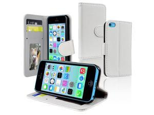 Apple iPhone 5C Stand Wallet Leather Case w/Crd Hldr, White