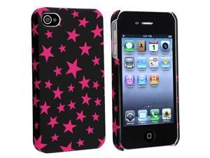eForCity Slim Fit Snap-On Rubber Coated Case Compatible With Apple iPhone 4, Black / Hot Pink Star