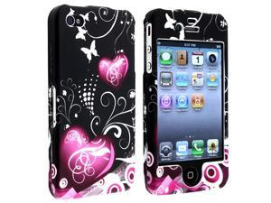 eForCity Snap-On Case Compatible With Apple® iPhone 4 / 4S/Dark Purple Heart With Butterfly