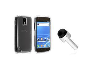 eForCity Clear Snap-on Crystal Case + Silver 3.5-mm Headset Dust Cap with Mini Stylus Bundle Compatible With Samsung© Galaxy ...