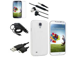 eForCity Clear White Case + Matte Screen Protector + Black Headset + More Compatible with Samsung© Galaxy S IV S4 i9500
