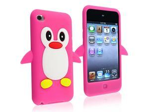 eForCity Penguin Silicone Skin Case Compatible With Apple® iPod touch 4th Gen, Hot Pink