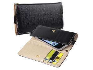 Leather Wallet Cell Phone Case, Black
