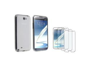 eForCity Clear Pudding TPU Rubber Skin Case + 3-Pack Anti-Glare Screen Protector Bundle Compatible With Samsung© Galaxy Note ...