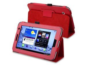eForCity Leather Case with Stand compatible with Samsung Galaxy Tab 2 7.0-inch P3100/ P3110/ P3113, Red