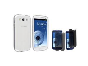 eForCity Clear TPU Rubber Skin Case + Privacy Screen Cover Compatible with Samsung© Galaxy S3 S III i9300