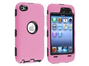 eForCity Hybrid Case Compatible With Apple® iPod touch 4th Generation, Black Hard / Pink Skin
