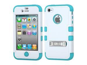 Natural Ivory White/Tropical Teal TUFF Hybrid Phone Protector Cover (with Stand) For Apple iPhone 4S/4