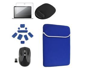 "eForCity Blue Laptop 13.3"" Sleeve + Clear 13.3"" Screen Protector + Black 2.4G Cordless Wirless Optical Mouse + Mouse Pad ..."