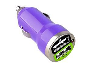 eForCity Universal Dual USB Mini Car Charger Adapter Compatible with Blackberry Z10, Purple