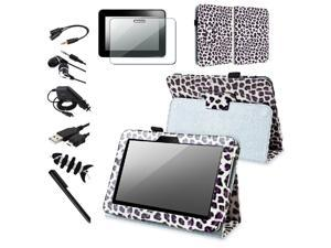 White/ Purple Leopard Leather Case w/ Stand + Black Car Charger (Micro USB) + Black USB Data / Charging Cable (Micro USB) ...