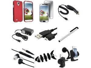 eForCity 9-in-1 Red Rubber Hard Case + Mirror Screen Protector + USB Cable + Charger Compatible with Samsung© Galaxy S4 i9500