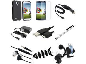 eForCity 9-in-1 Combo for Samsung Galaxy S4 SIV i9500 (Black Hard Case + Matte Screen Protector + Travel / Car Charger + ...