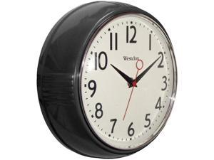 "Westclox 32042BK 9.5"" 1950's Retro Black Case Convex Glass Clock"