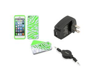 eForCity Wall Charger + Audio Cable + Natural Ivory White Zebra/Green Case for Apple iPhone 5 / 5S