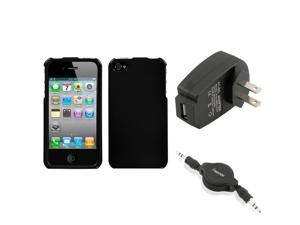 eForCity Wall Charger + Audio Cable + Solid Black Phone Case Cover compatible with Apple® iPhone 4S/4