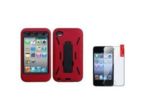 eForCity Black/Red Hard Stand Case Cover + Screen Protector compatible with Apple® iPod Touch 4 4G 4th Gen