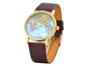 eForCity Coffee Classic World Map Globe Fashion Leather Alloy Women's Analog Quartz Watch
