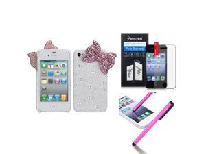 eForCity Pink Bow Pearl 3D Diamante Back Case Cover + LCD Cover + Stylus compatible with Apple® iPhone 4S/4