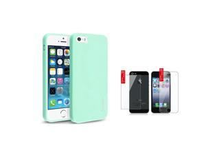 eForCity Mint Green Jelly TPU Cover Case Skin+2x Clear Guard for iPhone 5 / 5S 5G