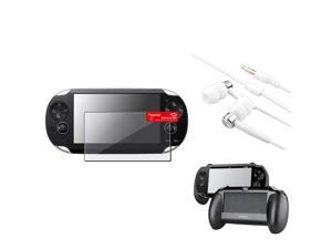 eForCity Black Hand Grip + Clear LCD Protector + White / Silver Headset Compatible With Sony PS Vita PSV