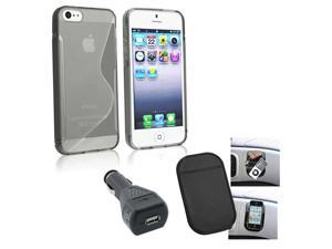 eForCity iPhone 5 3-Pc Accessories Bundle - Case, Anti-Slip Mat, USB Car Charger Adapter