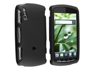 Snap-on Rubber Coated Case compatible with Sony Ericsson R800i Xperia Play, Black