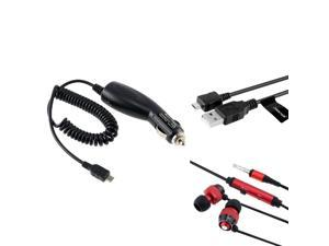 Universal Headset w/ On-off & Mic + Car Charger (Micro USB) + USB Data & Charging Cable compatible with Motorola Droid X