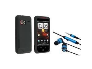 eForCity HTC EVO 3D 3.5MM In-Ear Stereo Headset With On-Off & Mic With Droid Incredible Black Silicone Skin Case