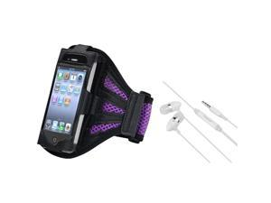 eForCity Purple Silicone Watchband Skin Case with FREE White In-ear (w/on-off) & Mic Stereo Headsets Compatible with Apple® ...