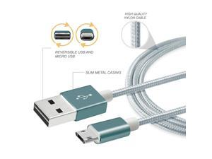 eForCity Reversible Micro USB Cable, 3FT, Gray/ Silver